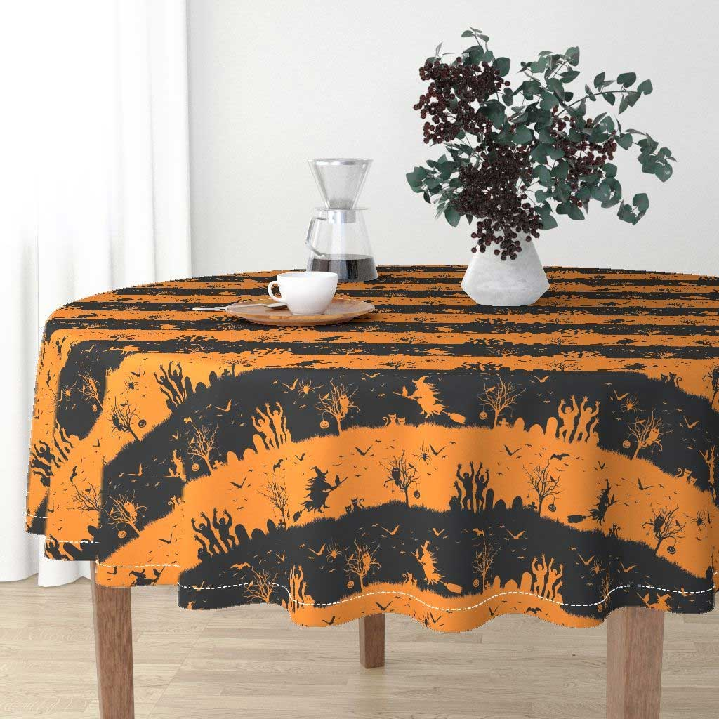 Intriguing And Fun Oval Halloween Tablecloth Design To Match The Merry Day   Table Covers Depot
