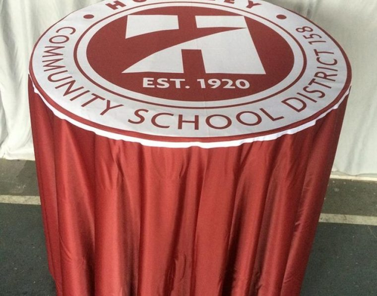 Cheap Custom Tablecloths With Logo School Small Round Table