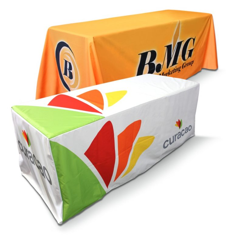 Cheap Custom Tablecloths With Logo for Tredeshow