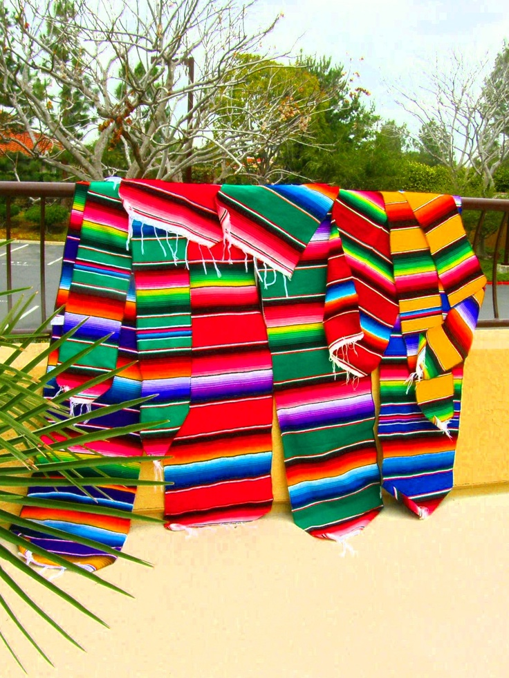 Mexican Serape Table Runner Blanket Fiesta Saltillo Design