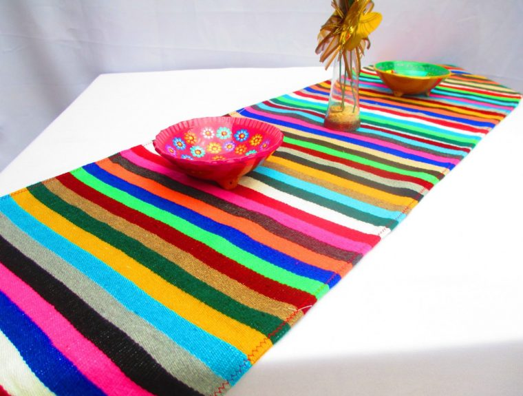 Mexican Serape Table Runner Blanket Saltillo Fiesta Design