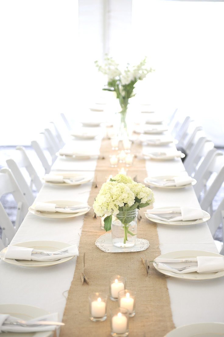 White Tablecloth With Burlap Runner | Tablecloths. Awesome White Tablecloth with Burlap Runner: White ..