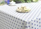 Polka Blue Extra Wide Wipeable Tablecloth | Franclaire Fabrics | wipeable tablecloth