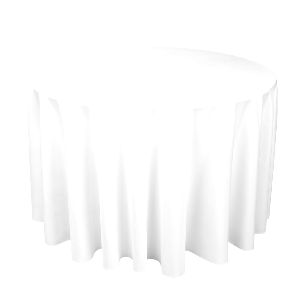 round table linens | Denby Hire | White Polycotton Tablecloth Fits 5ft Round Table ..