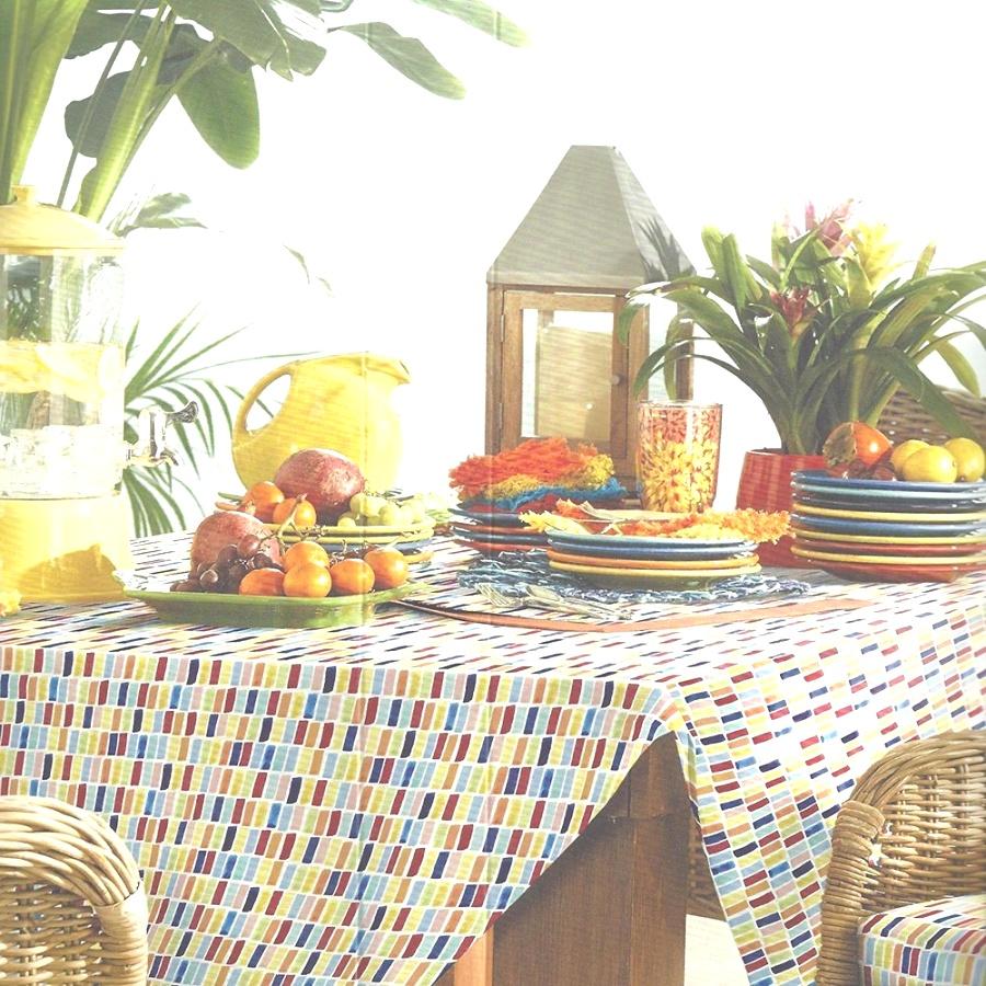 "fiesta table linens | Fiesta Dash Microfiber Indoor / Outdoor Polyester Fabric 70"" Rnd .."