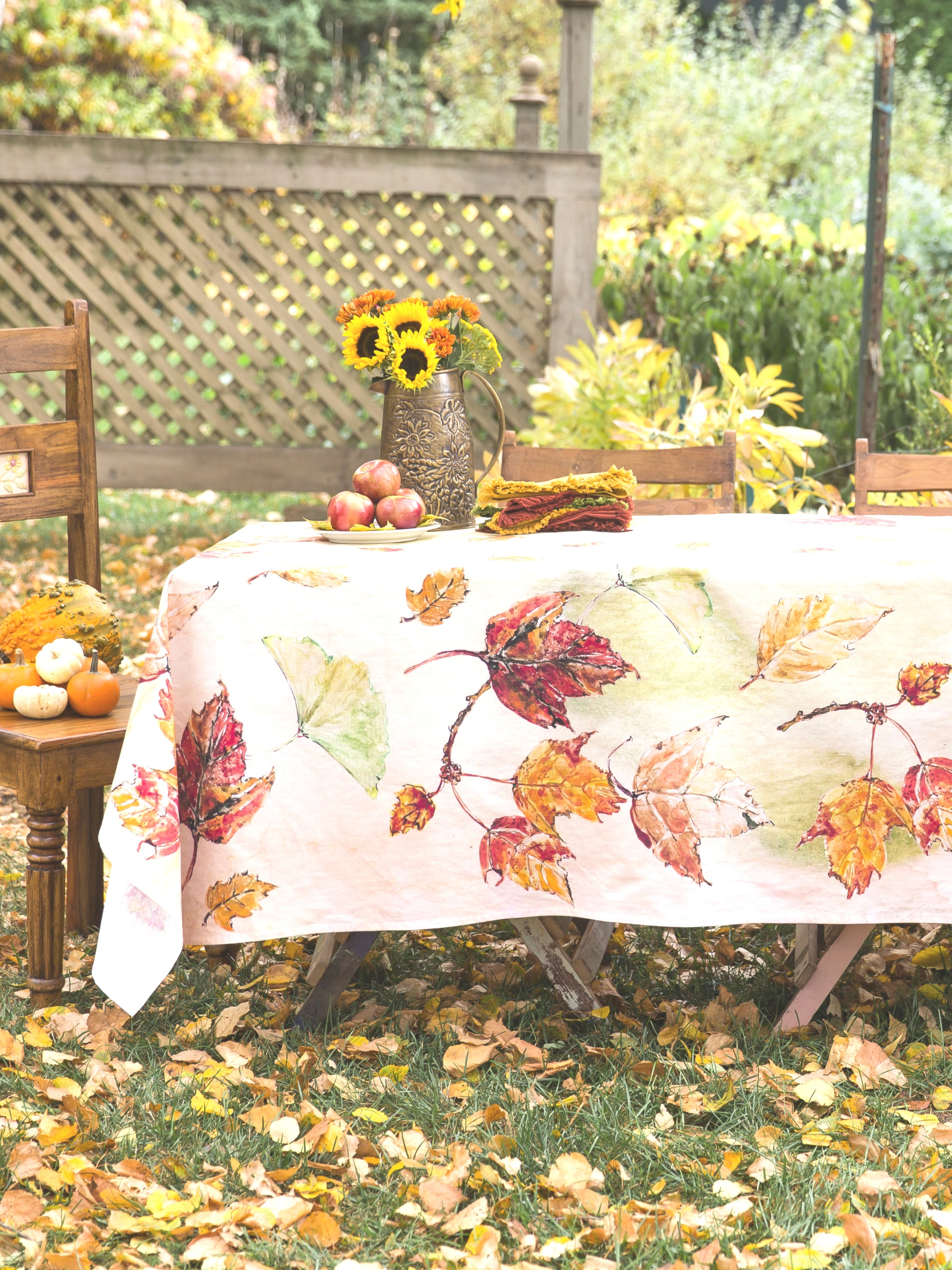 fall table linens | Autumn Leaves Tablecloth | Linens | fall table linens