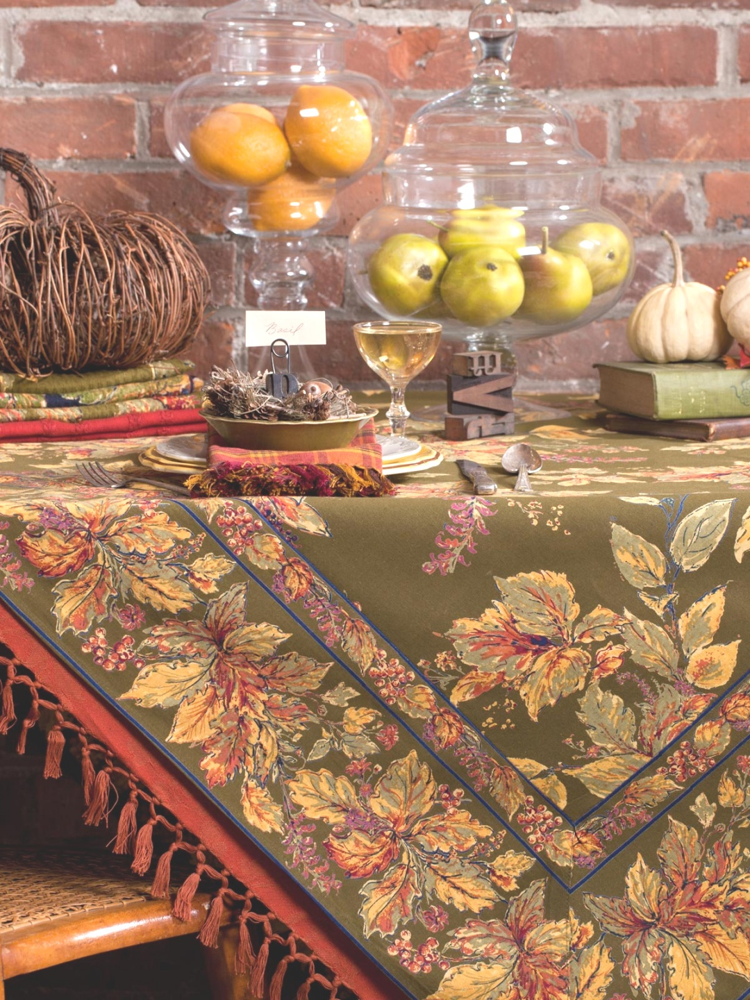fall table linens | Falling Leaves Tablecloth | Shop All Collections, Table Linens ..