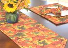 Table Runners: Fall Sunflower and Leaf Print 54 inch Table Runner ..