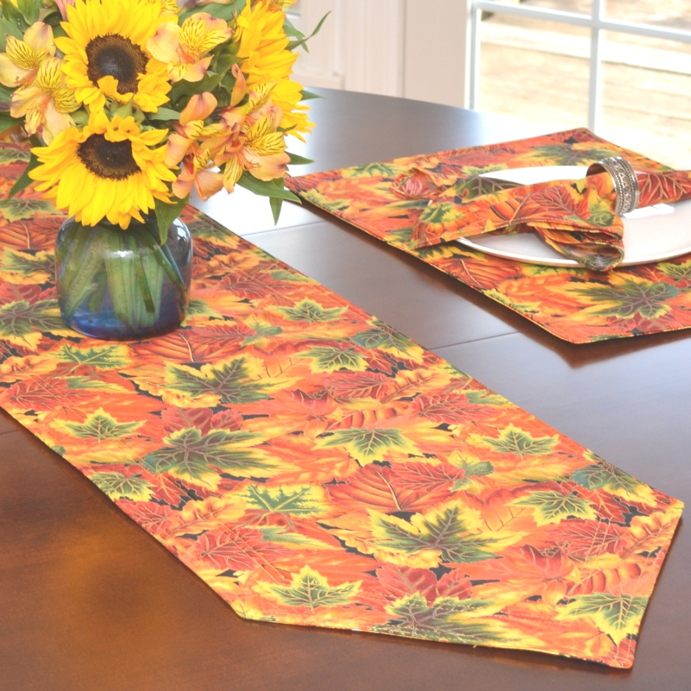 fall table linens | Table Runners: Fall Sunflower and Leaf Print 54 inch Table Runner ..