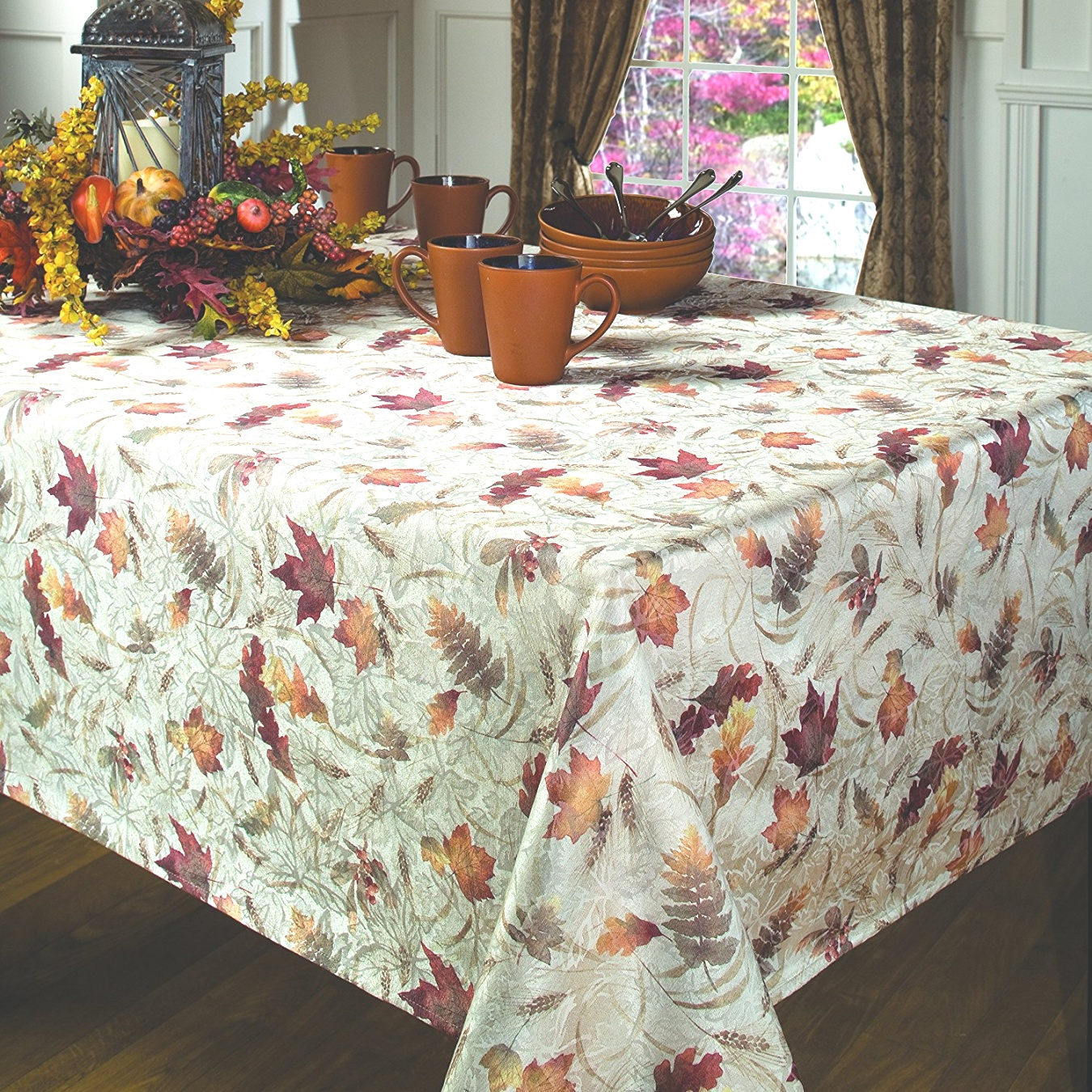 fall table linens | Amazon.com: Benson Mills Natures Leaves Jacquard Printed Fabric ..