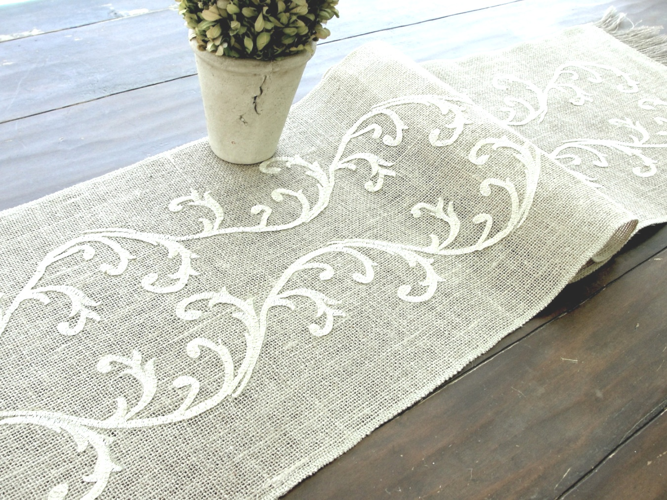 linen runners for tables | Embroidered Table Runner Wedding Table Linens Romantic | linen runners for tables