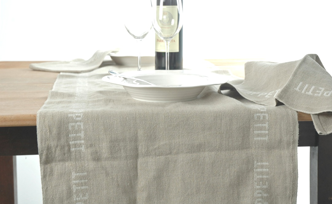 linen runners for tables | Pure Linen Black Bon Appetit Table Runner | The Crockery Barn | linen runners for tables