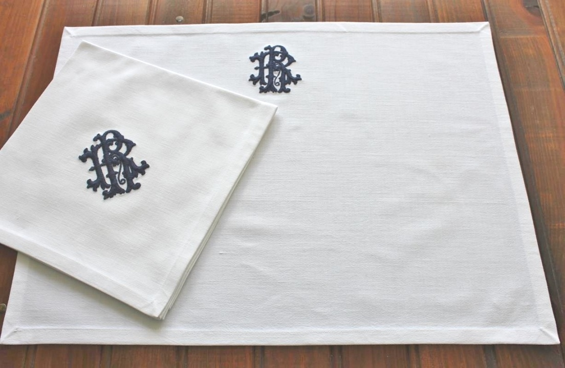 monogrammed table linens | Monogrammed Placemats Table Linen made with Vintage French Metis ..