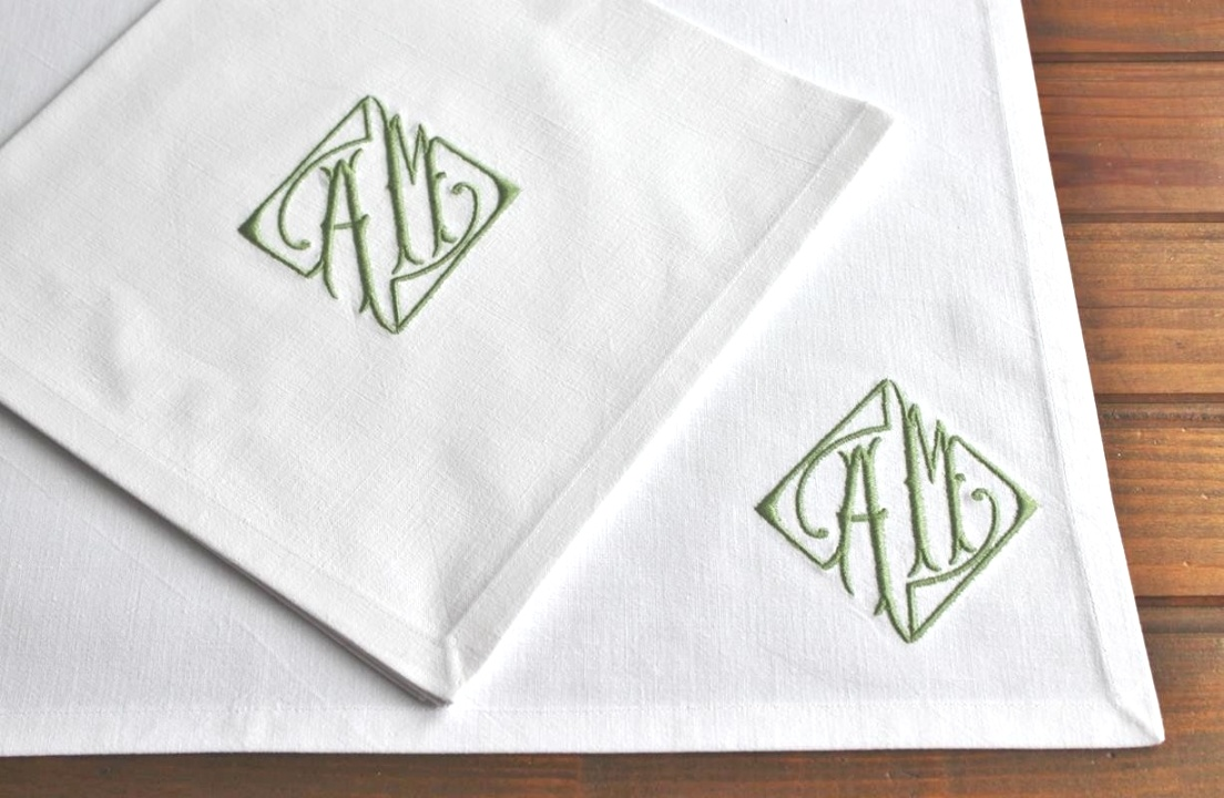 monogrammed table linens | Monogrammed Placemats Table Linen made Vintage French Metis Linen ..