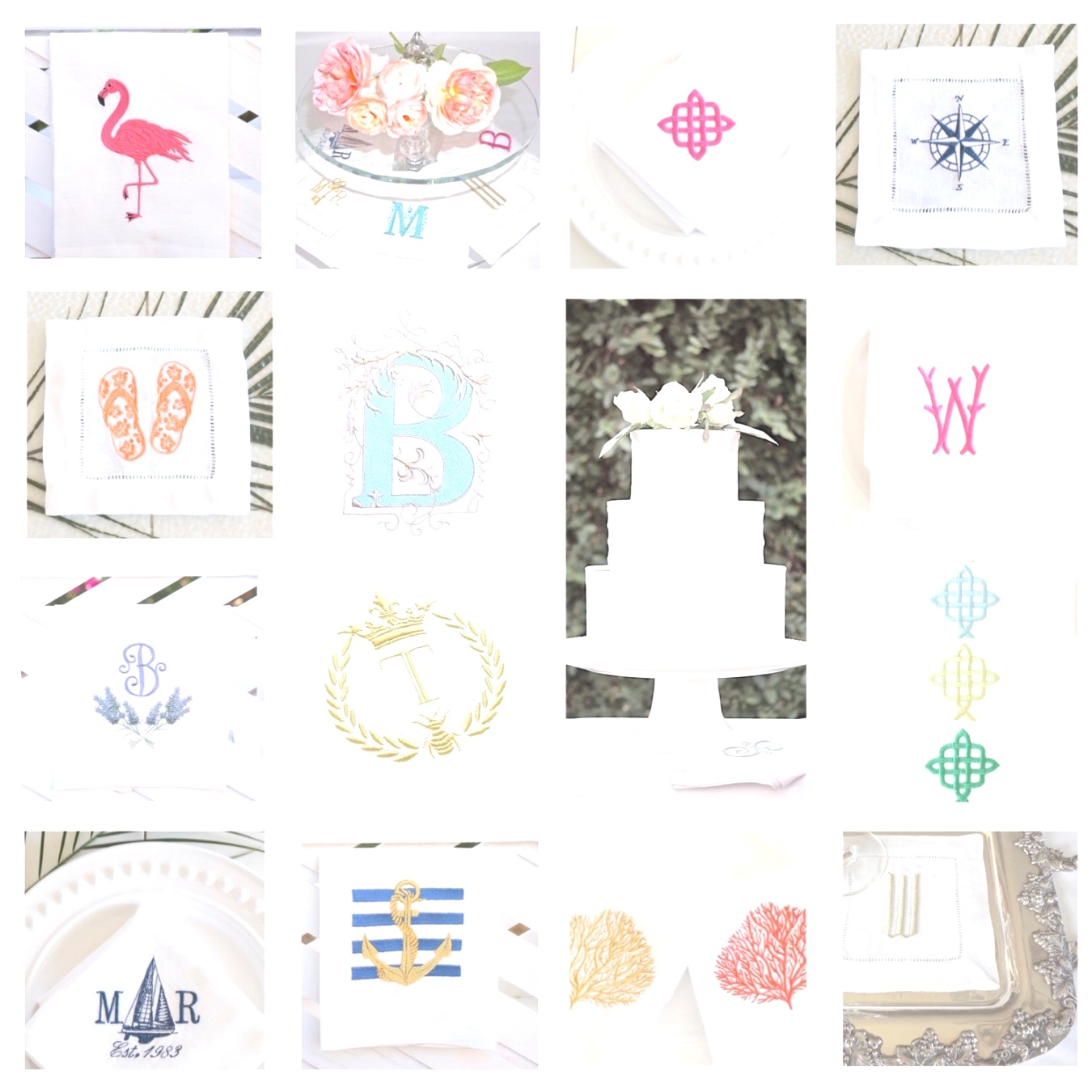monogrammed table linens | Coral Embroidered Dinner Napkins, Cocktail Napkins and Hand Towels ..