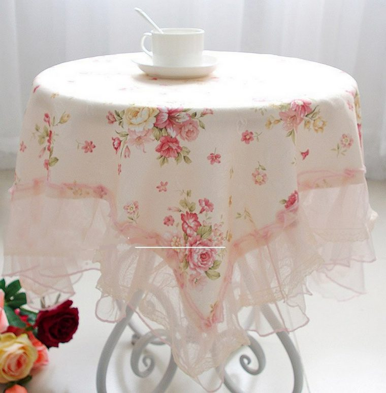 Coffee Table Cover-Pink-small-square-table-cloth-round-table-cloth-rustic-coffee-table-rose-lace-tablecloth-dining-table