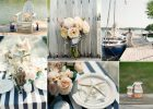 chic navy stripes and blush pink nautical wedding ideas extra long tablecloth