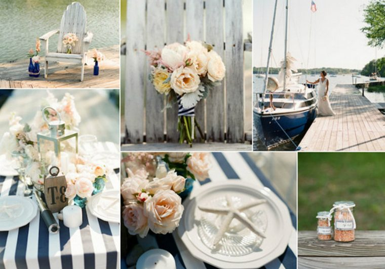 chic-navy-stripes-and-blush-pink-nautical-wedding-ideas-extra long tablecloth