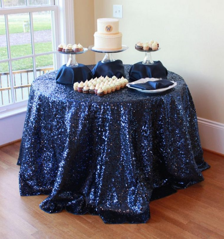 navy blue plastic tablecloth-70 inch round tablecloth