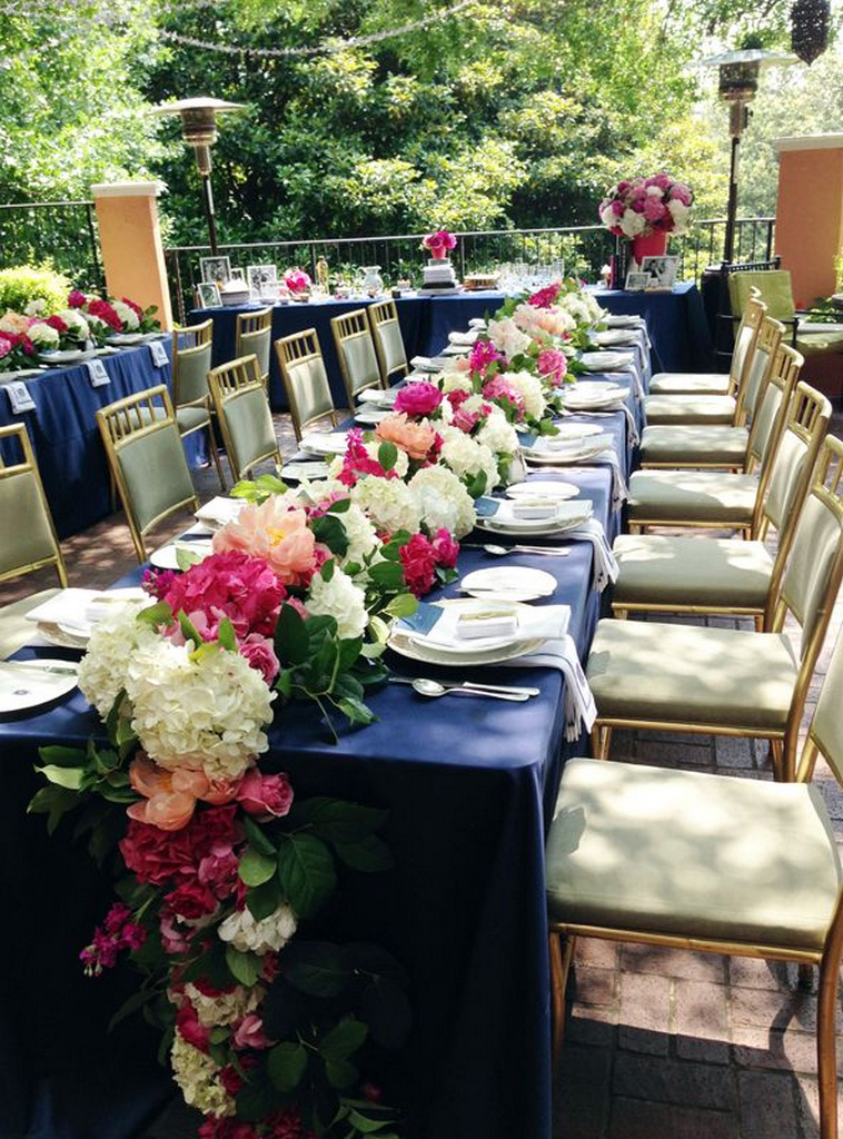 navy blue plastic tablecloth-Pink-Flowers-Inspiration-extra long tablecloth