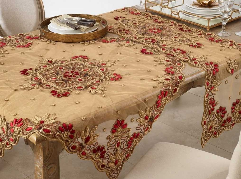 Elegant Beaded Table Runner with Classic Fancy Appeal